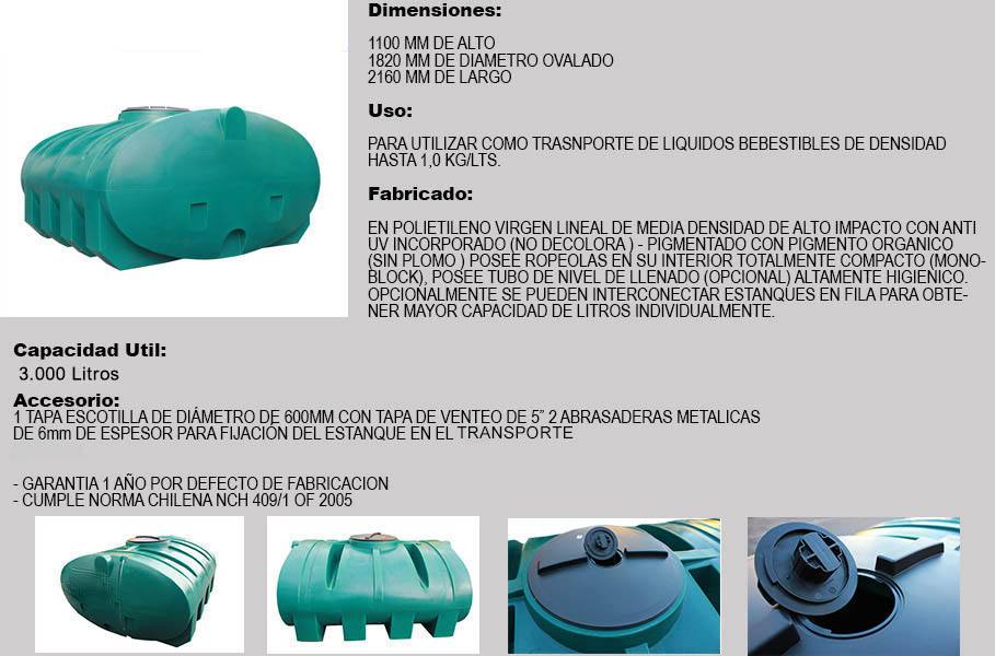 Estanque horizontal aljibe 3000 litros for Estanque aljibe